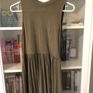 F21 olive green sleeveless dress